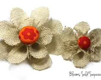 Cream Flower Hair Clip with an Orange Flower Center