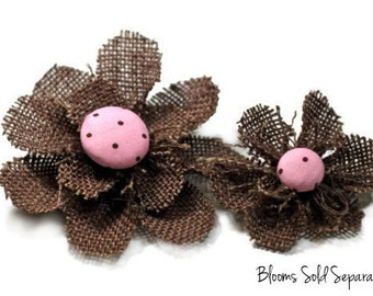 Brown Flower Hair Clip - Available in a Brooch Pin, Snap Clip, Alligator Clip or Headband