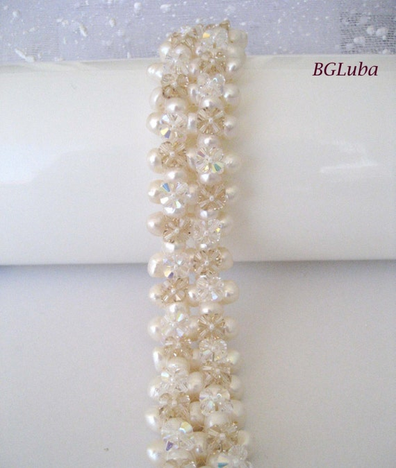 Wedding Jewerly, Bridal Bracelet,White Pearls&Swarovski  crystals,Cuff Bracelet,EBWC