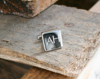 Silver Personalised Engraved Square Cufflinks
