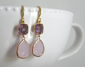 Lavender and Ice Pink Teardrop Glass Earrings, Drop, Dangle, Mother of the Bride, Anniversary Gift, Birthday Gift