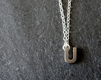 Silver Initial Letter U Necklace, Silver Initial Necklace, Personalized Necklace, Simple, Modern, Everyday
