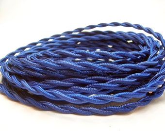 Blue 25-ft Cloth Covered Rayon Twisted Wire - Vintage Style Wire - Pendant  - Steampunk - Industrial light - Lamp Cord