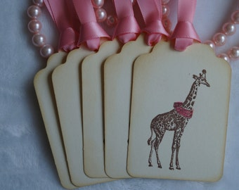 Victorian Circus Giraffe Tags, Giraffe gift tags Set of 5