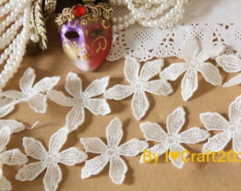 Off White Venice Lace Lovely Flowers Lace Trim 1.77 Inches Wide 2 Yards Costume Headware Supplies