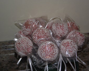 One dozen cake/brownie pops in pink or red