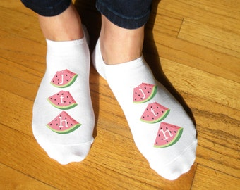 Summer Fun Personalized No Show Socks - Sold as a Set of 3 Pairs of Socks