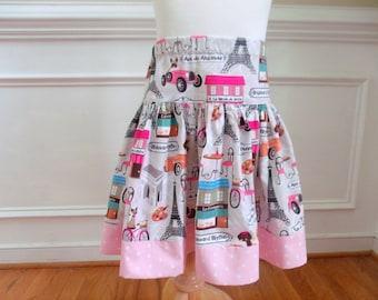 Paris Skirt Eiffel Tower Skirt Girls Eiffel Tower outfit Toddler Eiffel Tower skirt dress Twirly skirt France Skirt pink grey gray skirt