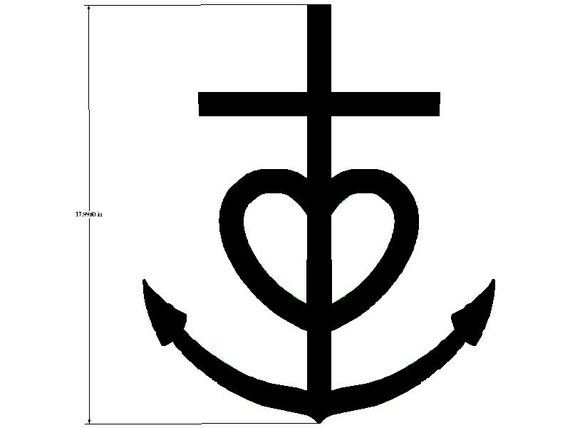 Items similar to Cross Heart Anchor Wall Hanging Approx ...