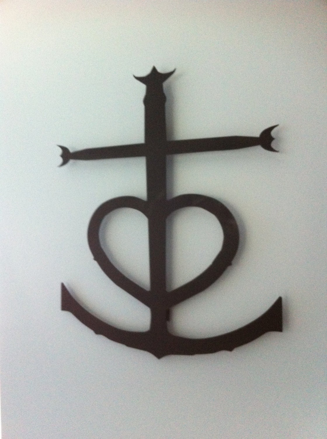 Cross heart anchor wall hanging approx 24 tall by metalandlights