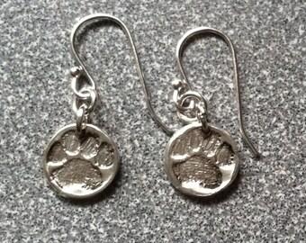 Paw print fine silver earrings