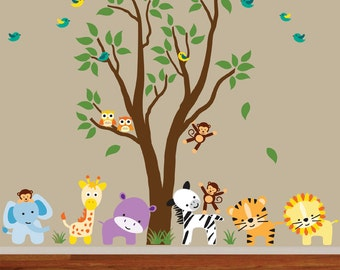 Childrens Jungle Tree Peel and Stick Decal Ecofriendly Fabric Decal 977