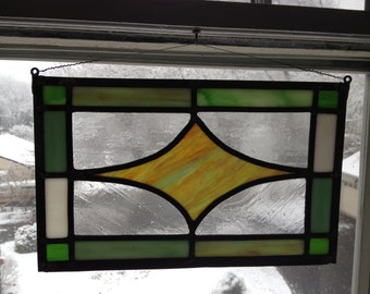 "Traditional / Art-Deco Stained Glass Window Panel  // . Green, Amber, White  //  14""x9"""