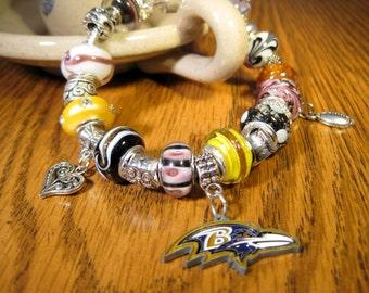 Baltimore Ravens Licensed Charm on a European Style Bracelet