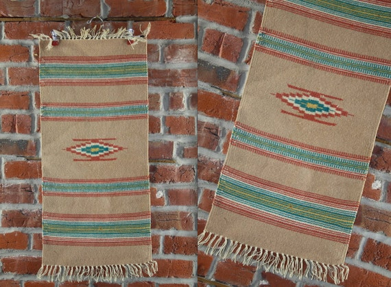Native American Rug // Small Woven Mat Blanket // By