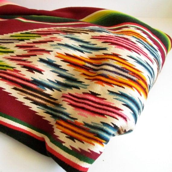 Vintage Mexican Blanket Serape Throw Blanket Geometric