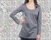 womens tops - womens shirt, gray tunic top  for womem