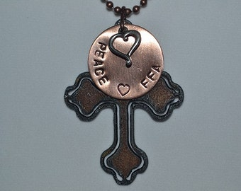 Rustic Rusty Rusted Recycled Metal Cross, Goat, Heifer, Lamb, Pig Peace Heart FFA Necklace