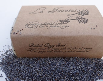 Patchouli Poppy, Organic Soap, Handmade Soap, Essential Oil Soap