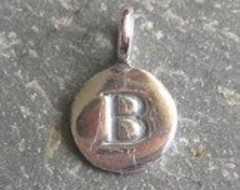 solid STERLING silver letter B round alphabet initial charm , personalise your jewellery with quality letters