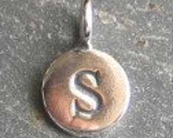 solid STERLING silver letter S round alphabet charm , personalise your jewellery with quality letters