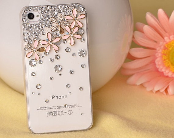 iphone 4s case, handmade iphone 4 cases iphone cover skin iphone 5 case - flowers crystal iphone 4 cases