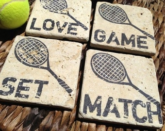 Tennis Love, GAME, SET, MATCH Natural Stone Coaster Collection (4),  Beer Coaster,   Drink Coaster, Tennis Racket