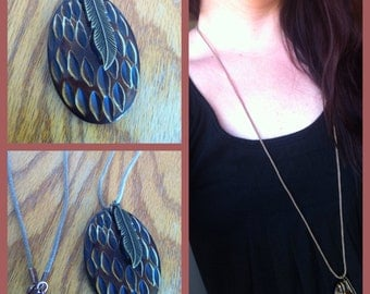 SALE Wood pendant with feather necklace