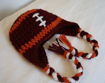 Virginia Tech Football Earflap Hat - Newborn Photo Prop