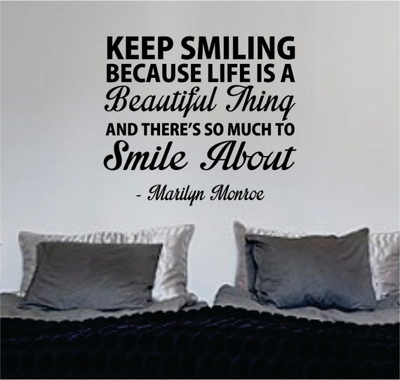 Marilyn Monroe Keep Smiling Quote Wall Decal Sticker