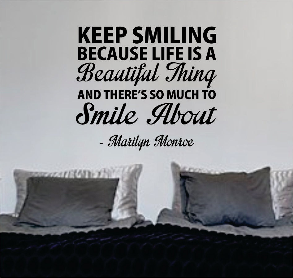 Keep Smiling Quotes: Marilyn Monroe Keep Smiling Quote Wall Decal Sticker By