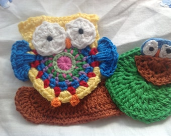 Crochet owl & baby embellishment appliqué cotton