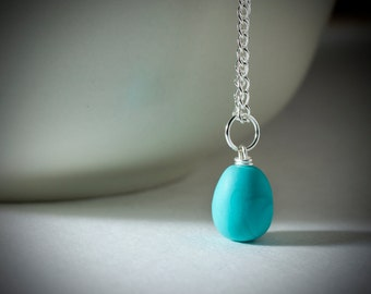 Minimal Blue Robin Egg Necklace /  Silver Plated