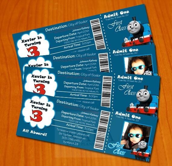 Thomas The Train Printable Ticket Style By RainyZebraDesigns