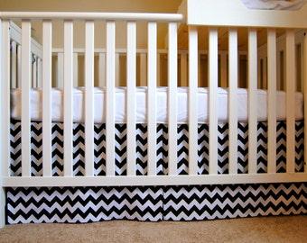 Mini Crib Box Pleat Skirt in Black and White Chevron