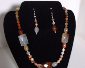 Natural Agate Necklace and Earrings