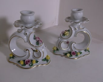 Vintage Dresden White Rose Decorated Candleholders