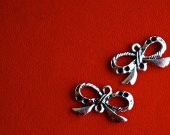 Silver Ribbon Bow Charms- Set of 2