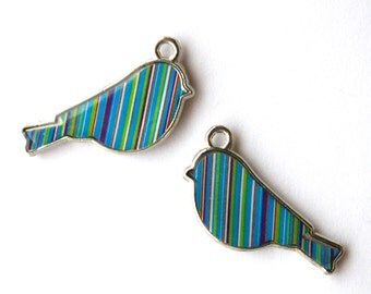 Striped Enamel Bird Charm/Pendant- Set of 2 -257-
