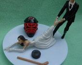Wedding Cake Topper New Jersey Devils NJ G Hockey Themed w/ Bridal Garter Sports Fan Bride Groom Funny Humorous Unique Reception Idea Top