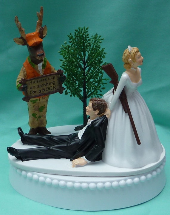 Wedding Cake Topper Humorous Deer Hunter Camo Hunting By WedSet
