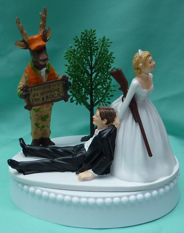 Wedding Cake Topper Humorous Deer Hunter Camo Hunting Rifle