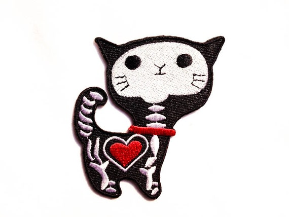 Cat X-Ray / Iron-on Patch / Cat Heart / Cat Skeleton / by