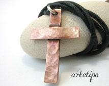 Handmade hammered copper Cross Necklace with black cord, Men's / Women's Cross pendant (unisex)
