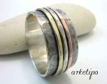 Personalized sterling silver Ring.. Wedding Band.. Handmade, hammered, oxidized Ring...Custom / Personalized Ring..