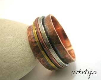 Personalized hammered  Ring of copper, sterling silver and brass. Men's / Women's Wedding Band.. Custom Ring..