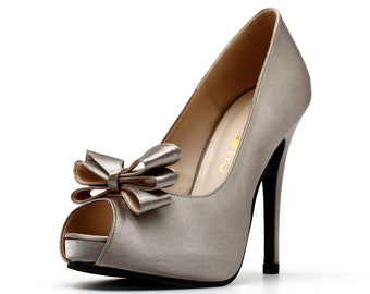 Platinum Silver Satin Wedding Shoe with Bow