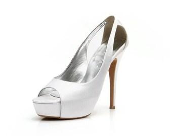 Wedding Shoe. White Wedding Shoe. Satin Wedding Heel. White Bridal Shoe. Custom Made Wedding Shoe.