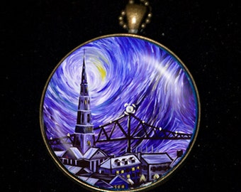 Necklace of a Painting of mine called the Holy City based on Vincent Van Gogh's Starry Night