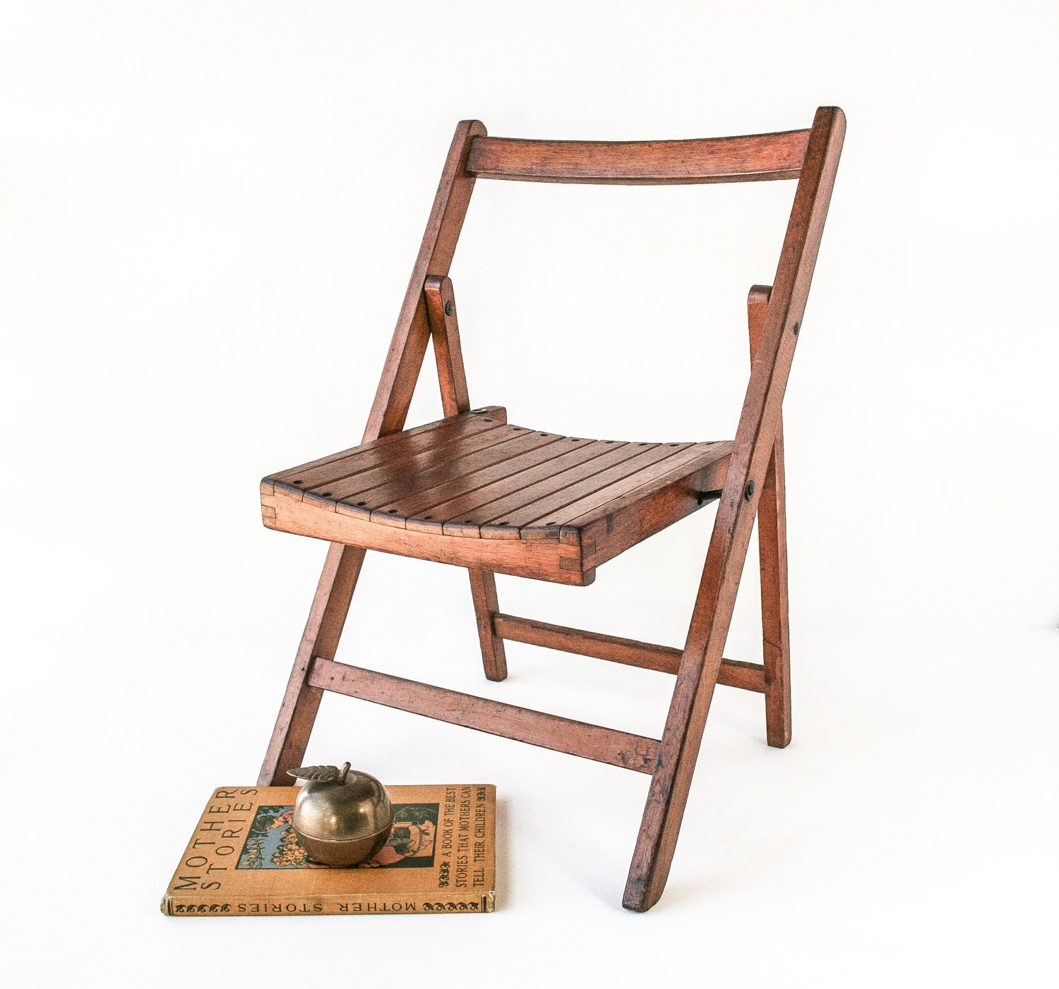 RESERVED Vintage Oak Childs Folding Chair Small Wood